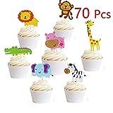 Hather 70 Stück Cupcake Deko Muffin Torten Kuchen süßer Zoo/Dschungel-Themed Tier Kuchendeckel Cupcake Topper für Geburtstag Kinder Löwe Nilpferd AFFE Elefant Zebra Giraffe Krokodil