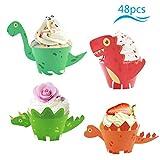 ZoomSky 48 Set Dinosaurier Cupcake Wrapper Papier Dino Muffin Backen Hüllen Kuchen Dekoration für Kinder Jungen Mädchen Geburtstag Party Deko