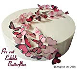 48 x Vorgeschnittene schöne rosa Schmetterlinge essbares Reispapier/Oblatenpapier Kuchendekoration, Dekoration für Cupcake Kuchen Dessert, für Geburtstag Party Hochzeit Babyparty (S)