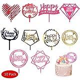 Amycute 10 Stück Happy Birthday Geburtstag Kuchen Aufsatz Topper Happy Birthday Cake Topper Acryl Cupcake Topper Kuchen Deko für Geburtstag Party Dekoration.