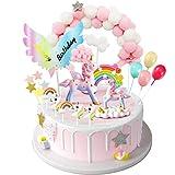 iZoeL Tortendeko Einhorn Geburtstag Kuchen Regenbogen Happy Birthday Girlande Luftballon Kuchen Topper für Kinder Mädchen