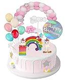 Camelize Einhorn Tortendeko Geburtstag,Kinder Einhorn Kuchen Topper,Happy Birthday Girlande, Luftballon, Wolke, Torte Einhorn Deko für Kinder Mädchen Junge