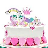 ZeWoo Einhorn Tortendekoration, Kindergeburtstag Deko Einhorn Cake Topper Tortenstecker Einhorn Party Supplies mit DIY Happy Birthday Wimpelgirlande für Mädchen und Jungen Jeden Alters (Regenbogen)
