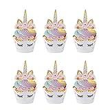 Cupcake Toppers Einhorn Cupcake Wrappers Kuchendeckel für Geburtstagsfeier Hochzeiten Jubiläen Gartenpartys Geburtstagskuchen Dekoration Lieferungen 24 Set