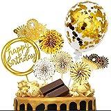 iZoeL Tortendeko Gold Rosegold Happy Birthday Topper Golden Konfetti Luftballon Feuerwerk Papierfächer Kuchendeko Geburtstagstorte (Gold)
