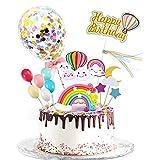 YUQIN Happy Birthday Cake Topper, Cake Topper Geburtstagstorte, Geburtstag Kuchen Topper,Baby Shower Tortendeko,für Geburtstagstorte Liefert Dekorationen (1)