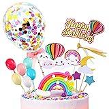 iZoeL Konfetti Ballon Tortendeko Regenbogen Geburtstagskuchen Happy Birthday Topper Luftballon Wolke Sterne für Kinder Mädchen (Konfetti Ballon)