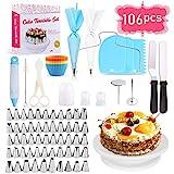 GVOO Tortendekoration-Set,106 PCS Kuchen Ausstecher Dekoration Set mit drehbarer Tortenplatte/Tortenständer für Zuckerguss und Deko,Werkzeug für Anfänger und Profis