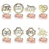8 Stück Happy Birthday Tortendeko Geburtstag, Kuchendeko Geburtstagsdeko Cake Torten Kuchen Topper, Gold Acryl Cupcake Tortenstecker für Mädchen Junge Mann Frau Kinder Geburtstag Taufe Party Deko