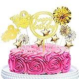 Audamp Tortendeko Happy Birthday Tortendeko Deko Gold Kuchen Deko für Geburtstagsfeier Dekoration 12 Stück
