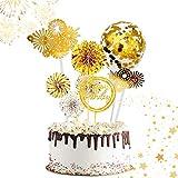 ETHEL Cake Topper Happy Birthday Glitter Cake Topper Kuchendekoration Geburtstag Tortendeko mit Konfetti Luftballons und Papierfächer für Geburtstagsfeier Dekoration (Golden)