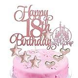 BOYATONG 14 Stücke Geburtstagstorte Topper,Happy 18. Birthday Kuchen Topper,18.Glitzer Kuchen Dekoration mit Schloss Tortendeko,Stern Topper, Herz Topper für Geburtstagsfeier Kuchen Zubehör, Roségold