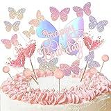 Ulikey Kuchen Topper, 19 Stücke Schmetterlinge Cake Topper, Happy Birthday Tortendeko, Kuchendeckel Topper, Kuchenfahne, Party Kuchen Dekoration Glitter Cake Geburtstag Heart Party Kuchendekoration