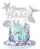 Regendeko Happy Birthday Silber Glitzer Meerjungfrau Tortendeko Ocean Theme Tortenaufleger Kuchendekoration Cupcake Cake Toppers Geburtstagskuchen Deko Tortendeko Mädchen Partydeko Mädchen (Silber)