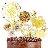 Popuppe 13 Stück Tortendeko Geburtstag, Glitzer Golden Happy Birthday Kuchendeko Konfetti-Luftballons Papierfächer und Sterne für Geburtstagsfeier Dekoration