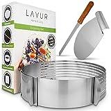 LAVUR ® Tortenring - Backform im 3er Set aus Tortenring, Kuchenretter und Küchenmesser - hochwertiges Design - 23-30cm Durchmesser - Ring stufenlos verstellbar - Schneiden von 8 Böden…