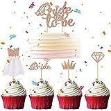 Bride To Be Cake Topper, 5 Stück Rose Gold Bride Cupcake Deko Braut Kuchen Torte Topper, Diamantring Diamant Brautkleid Krone Tortendeko für Verlobung Junggesellenabschied Hochzeit Brautdusche Party