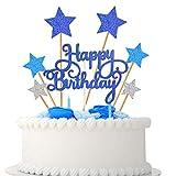 VAINECHAY Party Kuchen Dekoration Supplies Cake Topper Happy Birthday Girlande Tortendeko Geburtstag Mädchen Junge Cupcake Toppers Star, Blau Silber