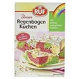 RUF Regenbogen-Kuchen • Blechkuchen in Regenbogen-Farben mit Glasur und bunten Streuseln, 1 x 840g