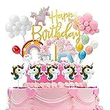 Ulikey Tortendeko Einhorn Geburtstag Torte Topper Kuchen Deko Kuchen Regenbogen Happy Birthday Girlande Ballon Kuchendekoration Einhorn Tortendekoration für Kinder Mädchen Junge