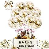 JIASHA Luftballons Kuchen Topper, 12 Stück Geburtstag Kuchen Topper Tortendeko Geburtstag Cake Topper Geburstagstorte Deko Konfetti Ballon Tortendeko, für Geburtstagsfeier Dekor (Golden)