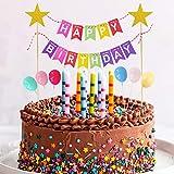 Happy Birthday Tortendeko Girlande, Geburtstag Kuchendeko Wimpelkette Cake Topper mit Luftballons Kuchen Topper, Glänzend Sterne Cupcake Bunting Banner für Mädchen Junge Kinder Taufe Torten Dekoration