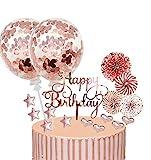 17 Stück Tortendeko Geburstagstorte, Happy Birthday Kuchendeko, Glitter Cake Topper Happy Birthday, tortendeko Rose Gold, Cupcake Topper mit Sternen Liebe Konfetti-Luftballons und Papierfächer