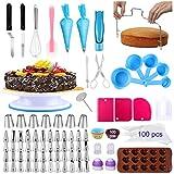 Alpacasso Zubehör zum Dekorieren von Kuchen 238 PCS Kuchen-Dekorations-Kits mit drehbarem Plattenspieler-Ständer, Richtmaschine, 48 Zuckergussspitzen, 100 Einwegbeuteln, Schokoladenform.