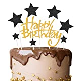 VAINECHAY Party Kuchen Dekoration Supplies Cake Topper Happy Birthday Girlande Blau Tortendeko Geburtstag Silber Kuchendeckel Geburtstags Dekorations Cupcake Toppers für Kinder Mädchen Junge