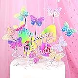 witgift 9 Stücke Schmetterlinge Geburtstag Kuchendekoration,Regenbogen Schmetterling Happy Birthday Kuchen Tortendeko,Cupcake Tortenstecker Kuchendeckel Topper für Mädchen Frauen Dame