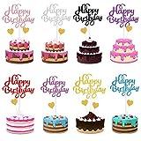 34 Stück Happy Birthday Tortendeko Geburtstag, Bunt Cake Topper Kuchendeko Gold Herze Torten Kuchen Topper, Cupcake Tortenstecker für Mädchen Junge Kinder Geburtstag Taufe Party Glitzer Deko, 8 Farben