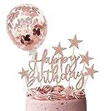iZoeL Kuchendeko Rosegold Happy Birthday Sterne Topper Konfetti Luftballon Tortendeko Geburtstagsdeko Mädchen Frauen