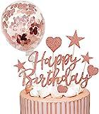Humairc Tortendeko Rosegold Geburstagstorte Deko Happy Birthday Konfetti Luftballon Herze Sternen Cake Topper Kuchen Aufsätze