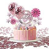 JSTC Tortendeko Rosegold, Happy Birthday Tortendeko Geburtstag Kuchen Deko Cake Topper Kuchendeko Torte Dekoration für Geburtstagsdeko Mädchen Junge Kindergeburtstag Mann Frau Geburtstagstorte.