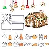 ASANMU 3D Fondant Ausstecher, 18 Stück Lebkuchenhaus Keksausstecher Weihnachtsausstechformen aus Edelstahl, Fondant Modellierwerkzeug Tortenzubehör für Back Küche Zubehör Weihnachten Kindergeburtstag