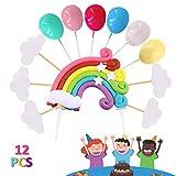 Rainbow Tortendeko, Cake Topper Kuchendeko mit Regenbogen Luftballons Wolken Kuchen Topper, Cupcake Tortenstecker für Kinder Mädchen Junge Geburtstag Einschulung Taufe Hochzeit Party Dekoration
