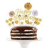 RayE 20 Stück Gold Happy Birthday Tortendeko Geburtstag Set, Cake Topper Geburtstagstorte, kuchendeko Geburtstag mädchen, deko Torte für Geburtstagsfeier Dekoration